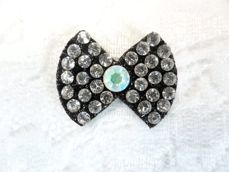 Rhinestone Applique Bow Crystal Crystal AB w/ Black Backing .75 (GB648)