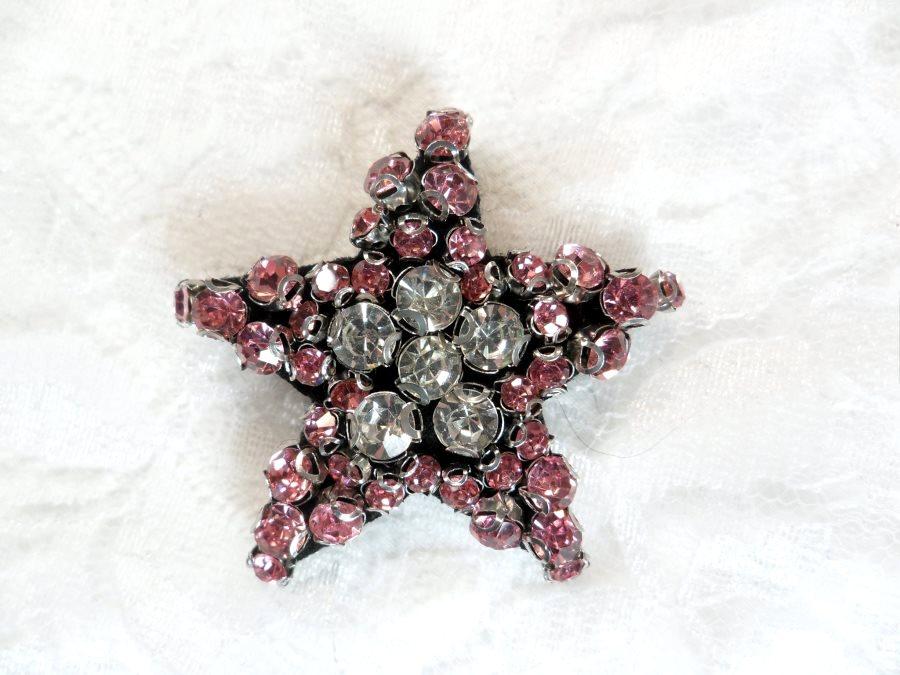 Rhinestone Applique Star Pink Crystal w/ Black Backing 1.5 (GB651)
