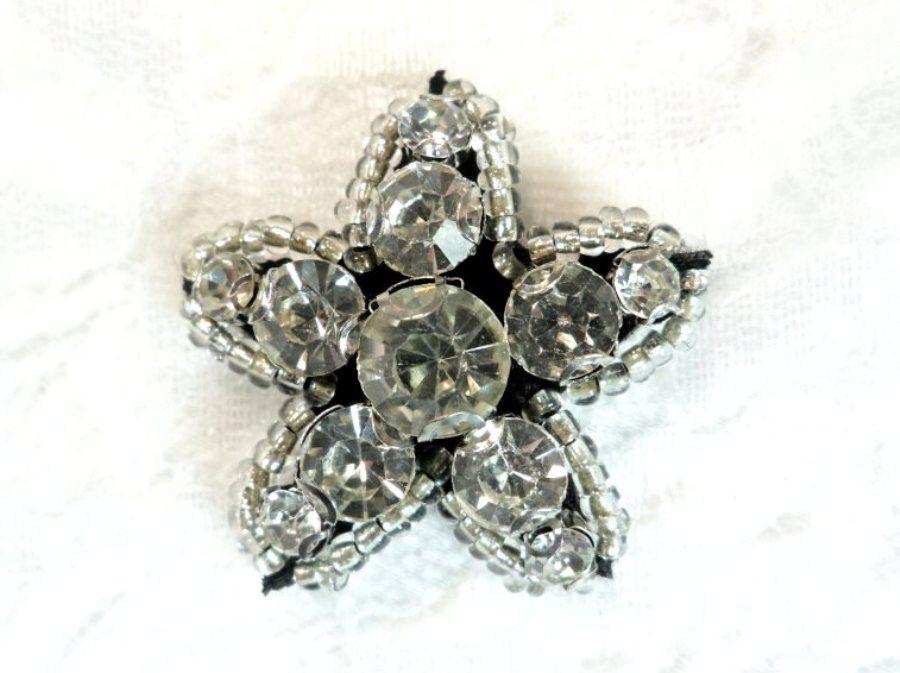 Rhinestone Applique Star Crystal w/ Black Backing 1.25 (GB652)