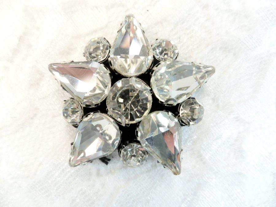 Rhinestone Applique Star Crystal w/ Black Backing 1.25 (GB658)
