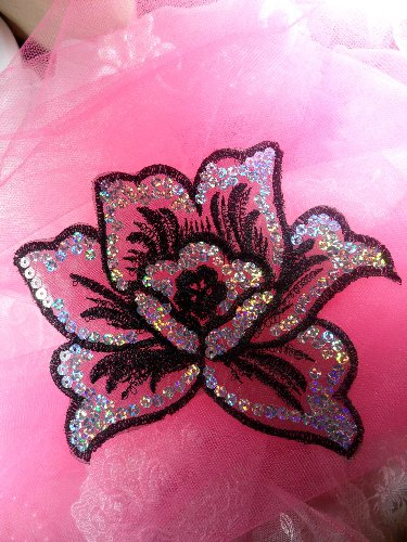 GB66  Black Flower Embroidered Silver AB Sequin Applique 6.5\