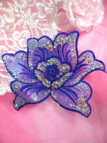 GB66 Blue Embroidered Flower Silver AB Sequin Applique 6.5