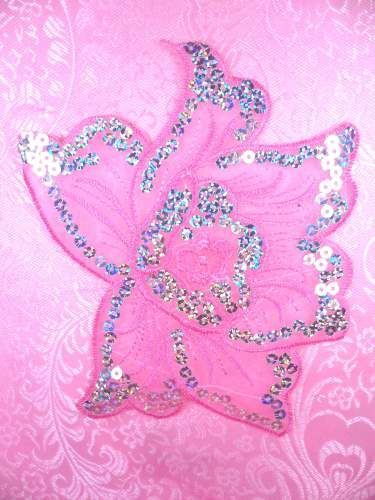 GB66 Pink Embroidered Flower Silver AB Sequin Applique 6.5\