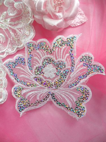 GB66 White Embroidered Flower Silver AB Sequin Applique 6.5\
