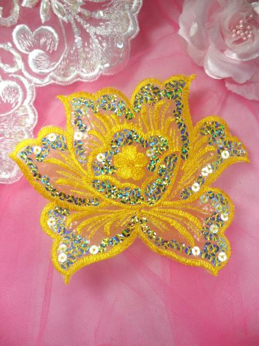 GB66 Yellow Embroidered Flower Silver AB Sequin Applique 6.5\