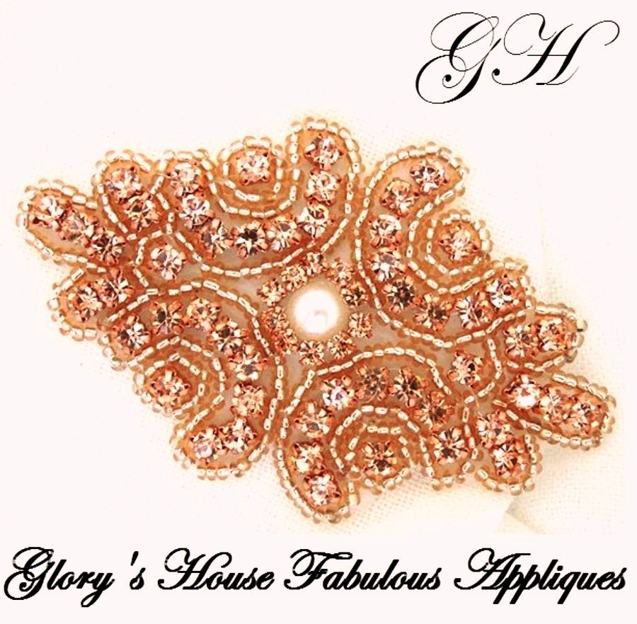 Rhinestone Rose Gold Applique Matching Beads w/ White Pearl Center 3.25 (GB663)