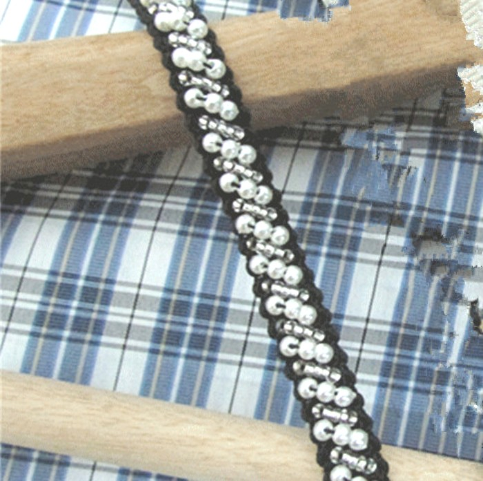 White Antique and Silver Beaded Sewing and Craft Trim w/ Black Fabric Backing 3/8 (GB664)