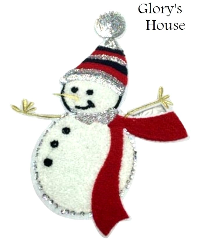 Large Snowman Applique Sequin Holiday Christmas Patch Furry and SO Cute! 13 GB665