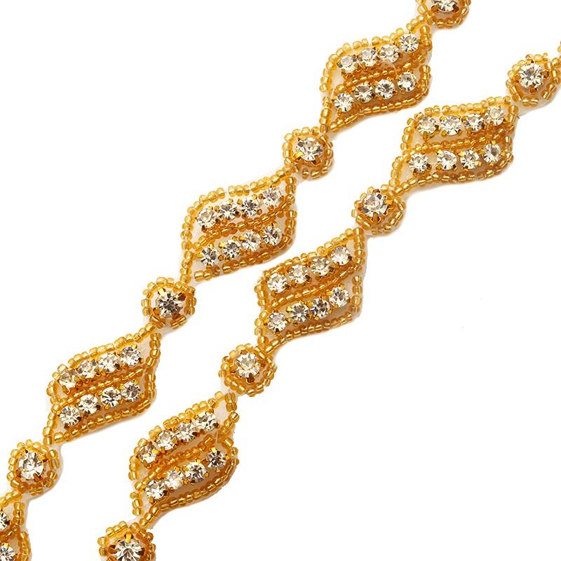 Pre Cut One Yard Length Crystal Rhinestone Trim Gold Beaded GB726
