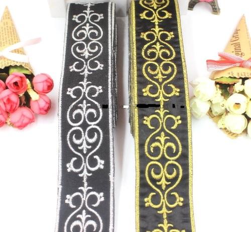 Black Trim Silver Metallic Designer Scroll Sewing Iron on Border Edging GB735