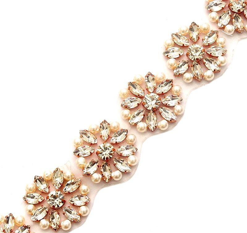 Crystal Rhinestone Rose Gold setting White Pearl Bridal Trim Iron On GB738