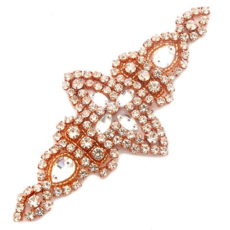 Rose Gold Applique Beaded Crystal Rhinestones Rose Gold Settings Bridal Bling Patch 6 GB739