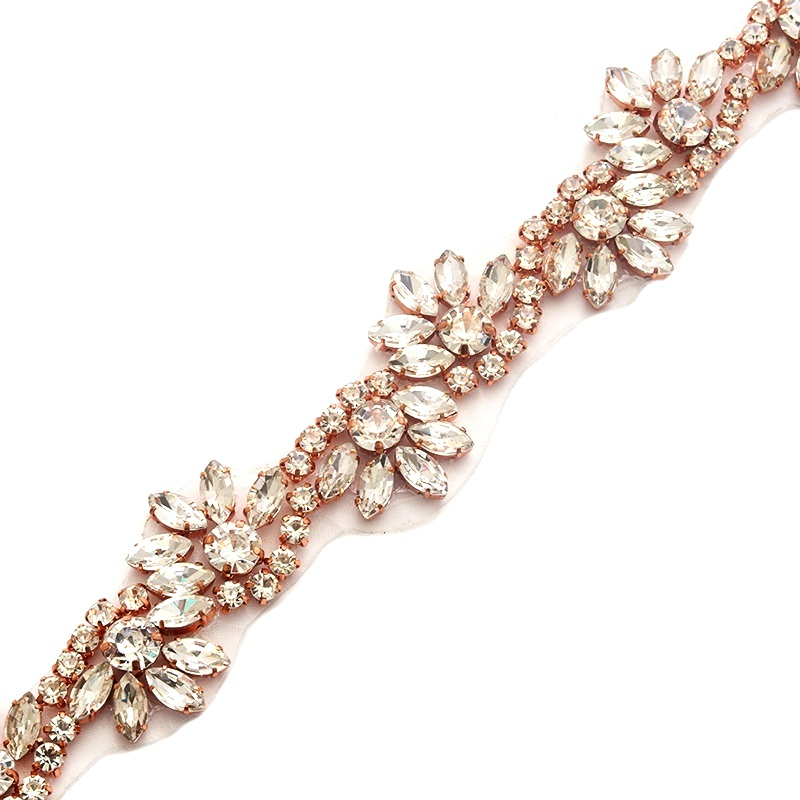 Pre-Cut 36 Wavy Crystal Rhinestone Rose Gold Setting Bridal Trim Marquise Teardrop Stones GB741
