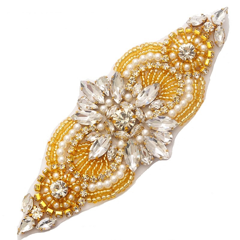 Crystal Applique Rhinestone Gold Beaded with Pearls 5.5 GB743