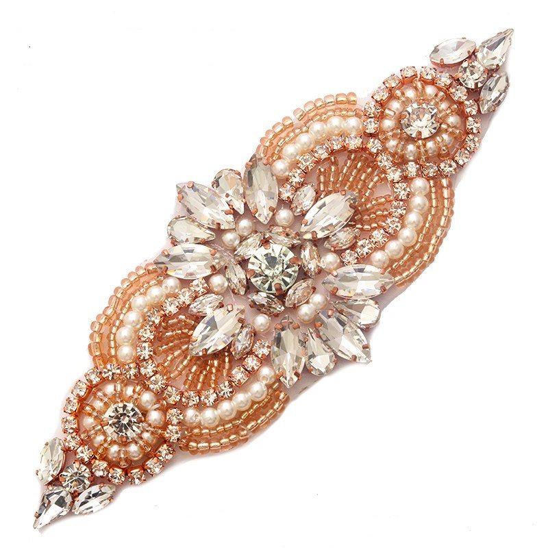 Applique Rose Gold Beaded Crystal Rhinestone Patch with Pearls 5.5 GB743