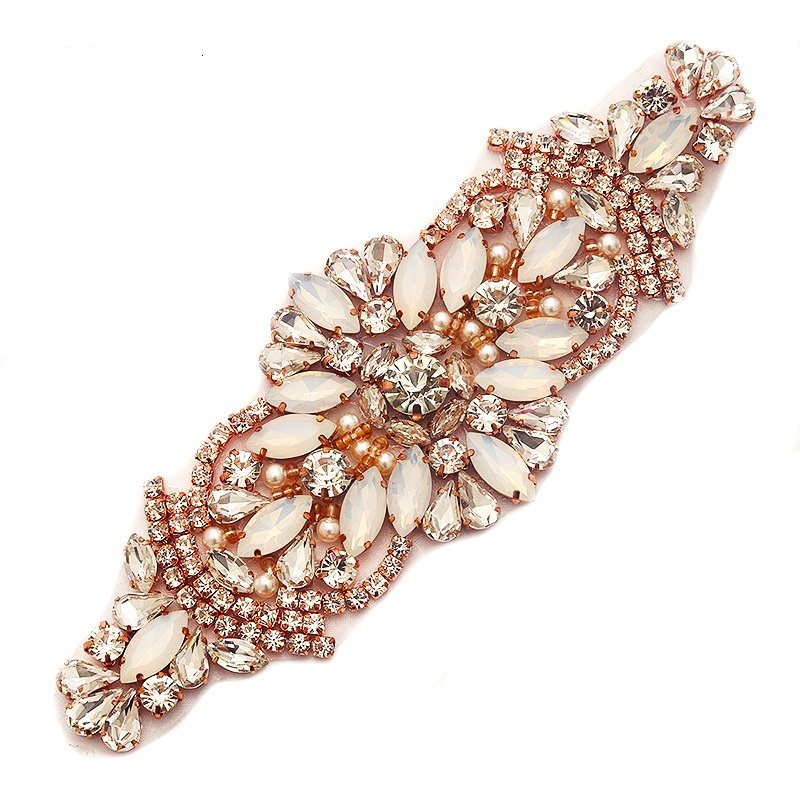 Opal and Crystal Rhinestone Applique Rose Gold Settings and Beads Small Pearls GB746