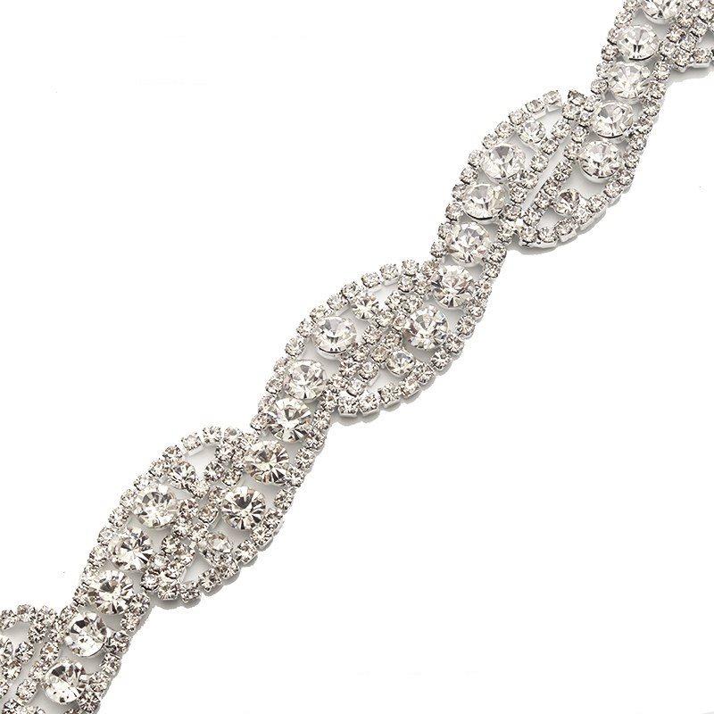 Crystal Clear Rhinestone Trim Silver Metal Backing Bridal Belt Embellishment GB748