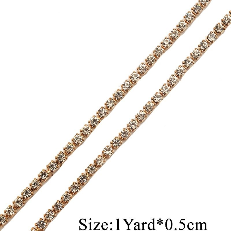 RMGB749 Remnant 13 Gold Single Row SS12 Crystal Rhinestone Trim Setting Chain Bridal Bling