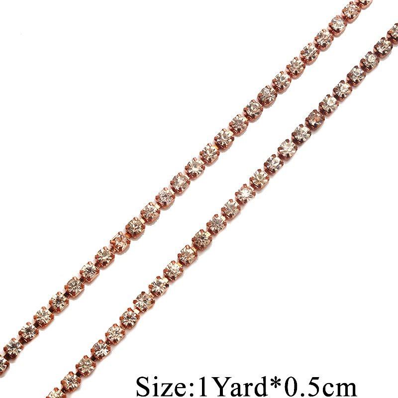 Rose Gold Single Row SS12 Crystal Rhinestone Trim Setting Chain Bridal Bling GB749
