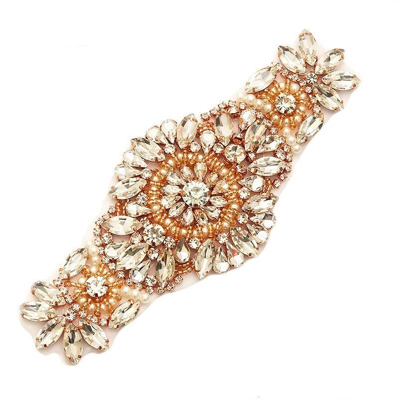 Applique Rose Gold Beaded with Large Crystal Rhinestones and Pearls Bridal Bling 6.5 GB754