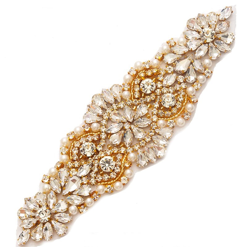 Gold Beaded Applique with Crystal Rhinestones and Pearls Bridal Bling 6.75 GB755