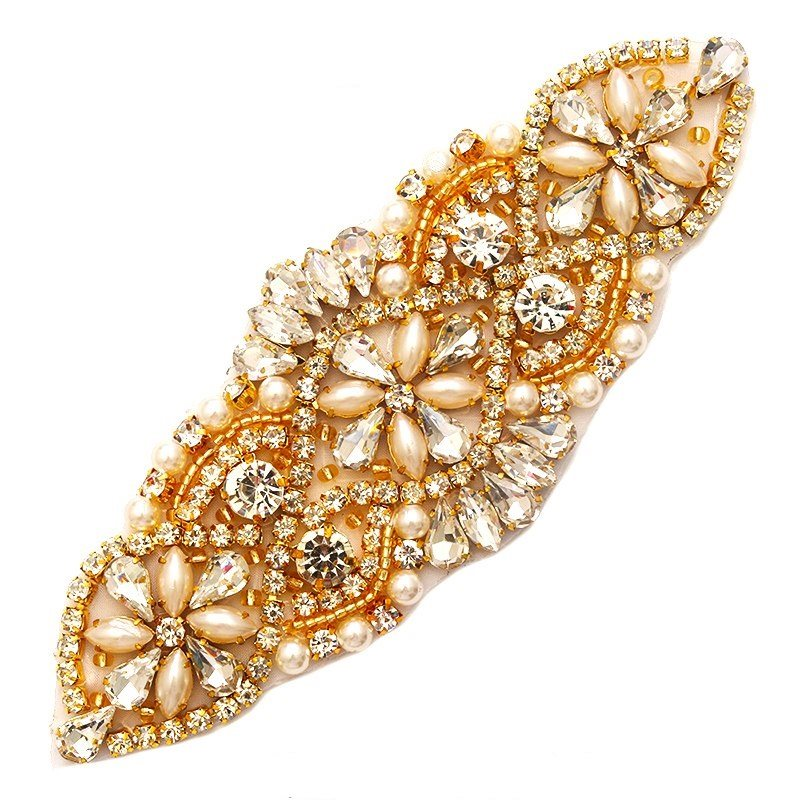 Bridal Day Applique Gold Beaded with Crystal Rhinestones and Pearls 5.5 GB756