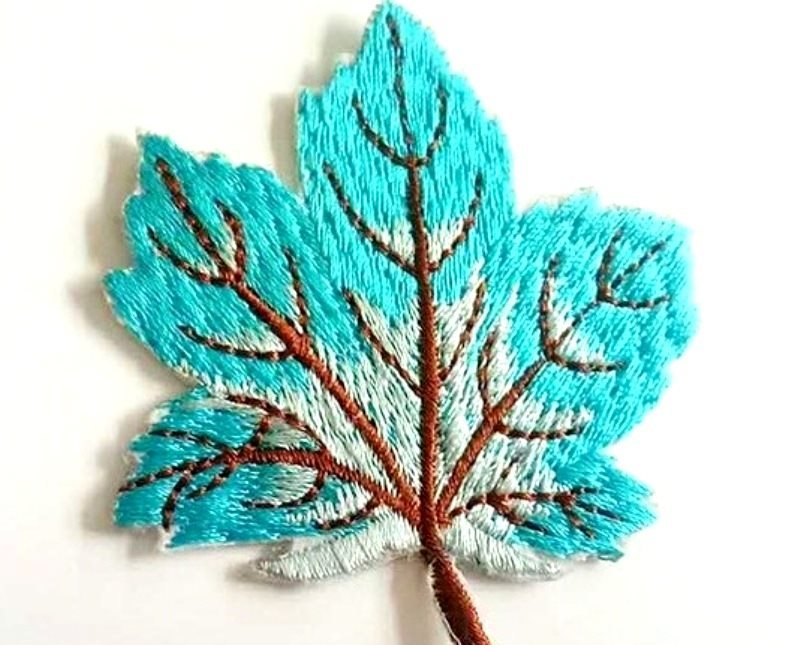 Embroidered Turquoise Leaf Applique Iron On Clothing Patch Craft Motif GB770