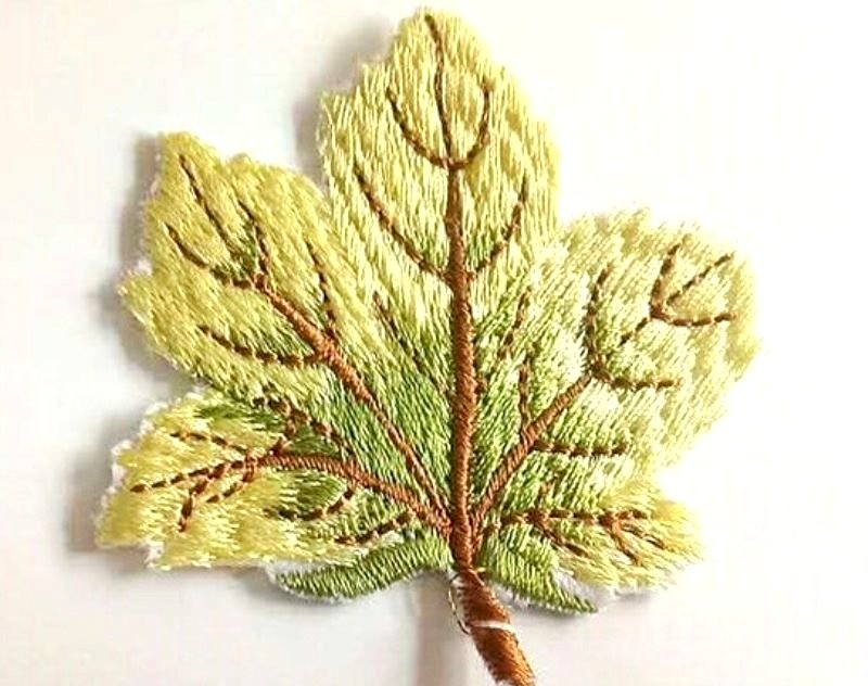 Embroidered Yellow Leaf Applique Iron On Clothing Patch Craft Motif GB770