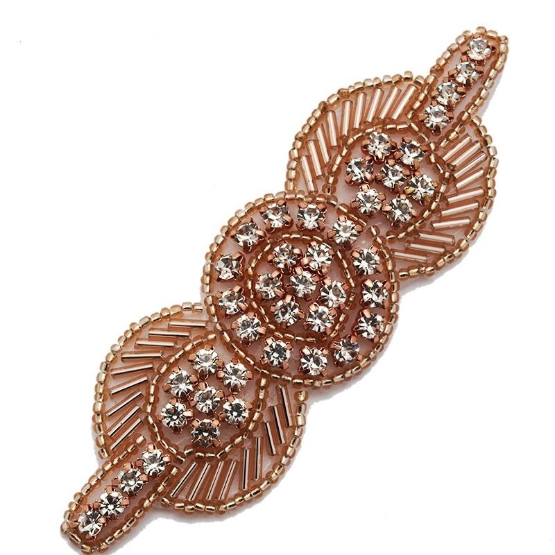 Applique Rose Gold Beaded Crystal Rhinestone Patch 4 GB771