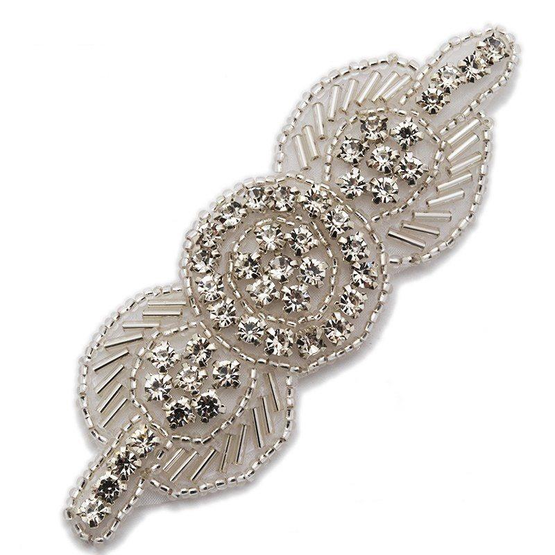 Applique Silver Beaded Crystal Rhinestone Patch 4 GB771