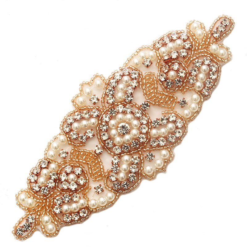 Applique Rose Gold Beaded Crystal Rhinestone Patch with Pearls 6.25 GB776