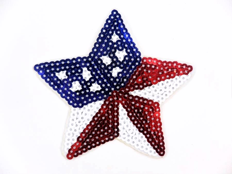Star Applique Sequin Patriotic Red White Blue Iron On Patch 4 GB773