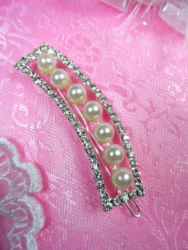 GB78 Silver Rhinestone Crystal Pearl Hairbow 2.5\