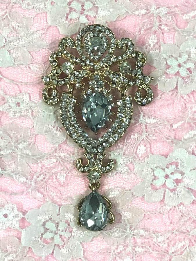 GB791 Bridal Gold Crystal Glass Rhinestone Brooch Brianna 4