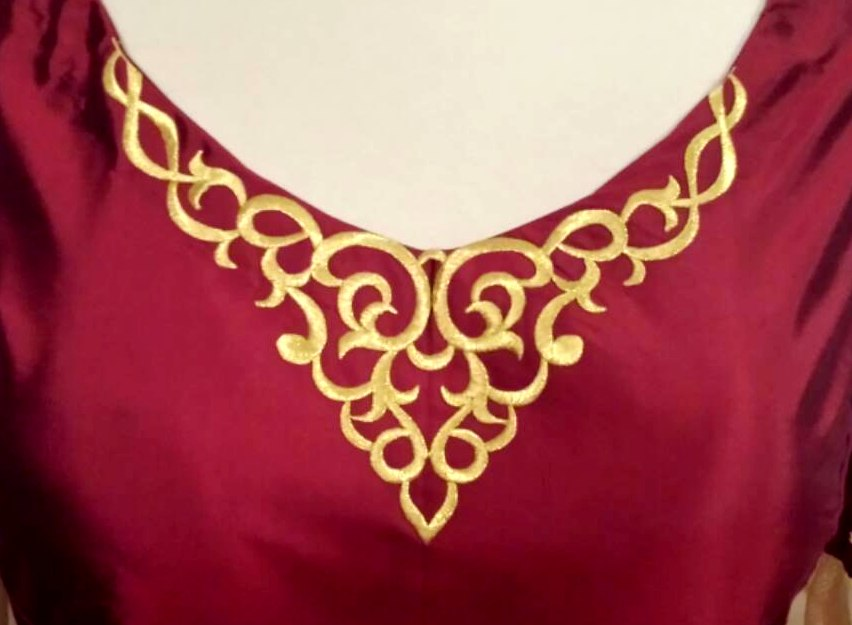 Embroidered applique gold metallic iron on designer bodice patch