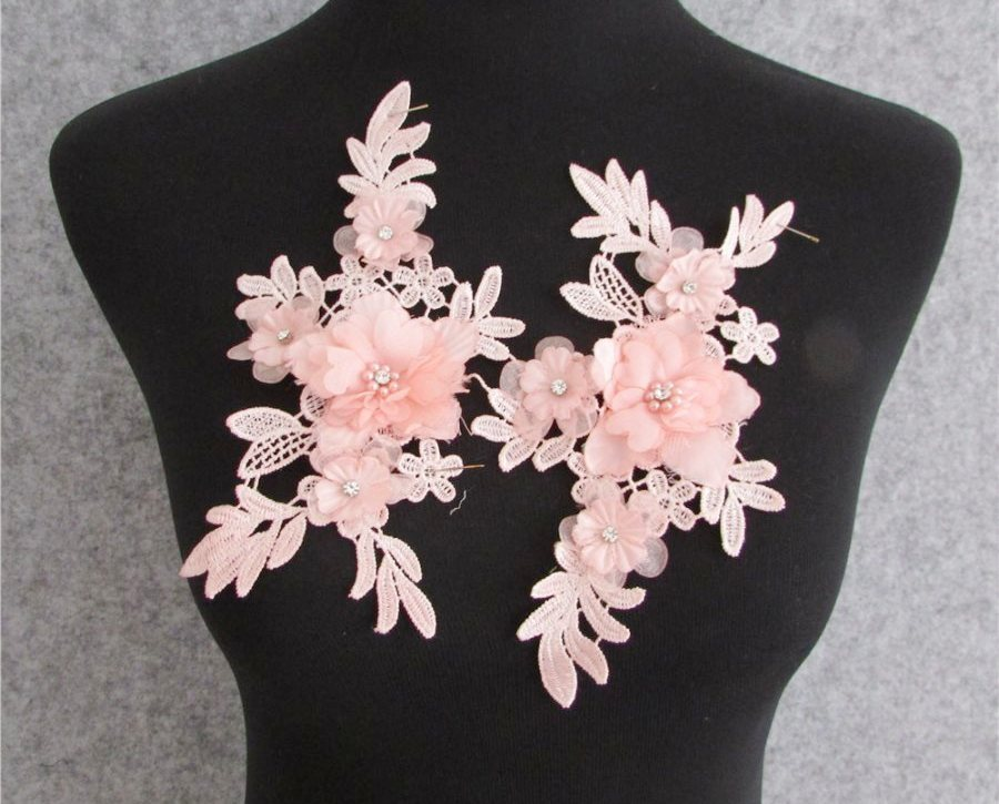 3D Embroidered Silk Rhinestone Appliques Pink Floral Mirror Pair With Pearls 7.5  GB795X