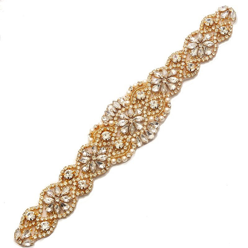 Rose Gold Bridal Sash Applique w/ Beads and Pearls Surrounding Crystal Rhinestones 11 GB799