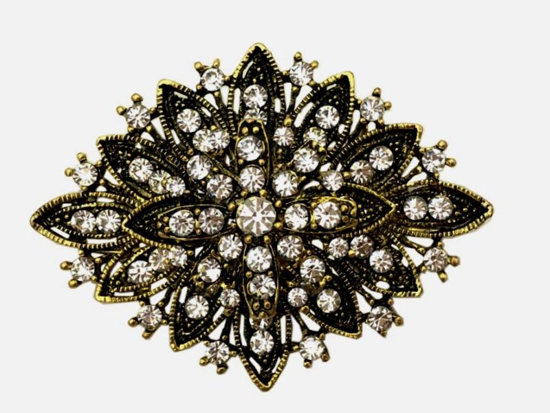 Brooch Black Gold Crystal Rhinestone Pin Vintage Glass 2.5 (GB80-bkglcr)