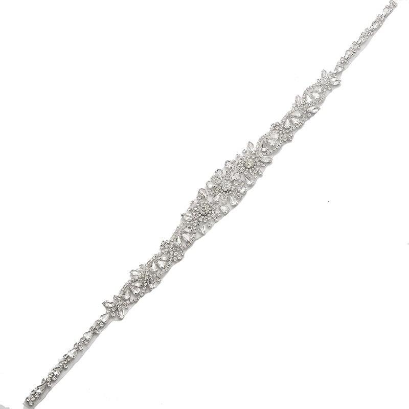 Silver Bridal Sash Applique w/ Crystal Rhinestones 23 GB803