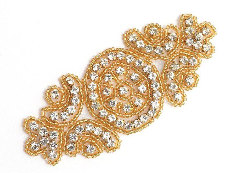 Applique Gold Beaded Crystal Rhinestone Patch 4 GB804
