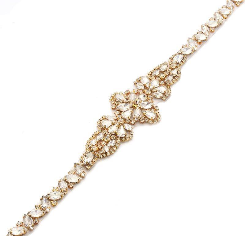 Gold Bridal Sash Applique w/ Matching Beads Surrounding Crystal Rhinestones 18  GB805