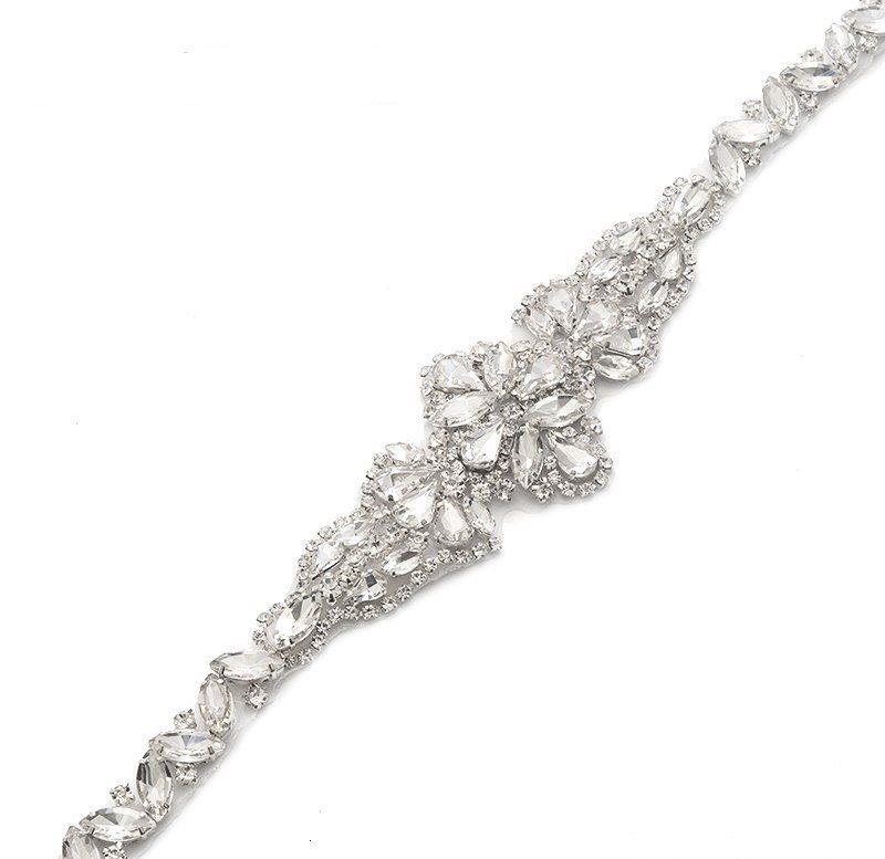 Silver Bridal Sash Applique w/ Matching Beads Surrounding Crystal Rhinestones 18  GB805