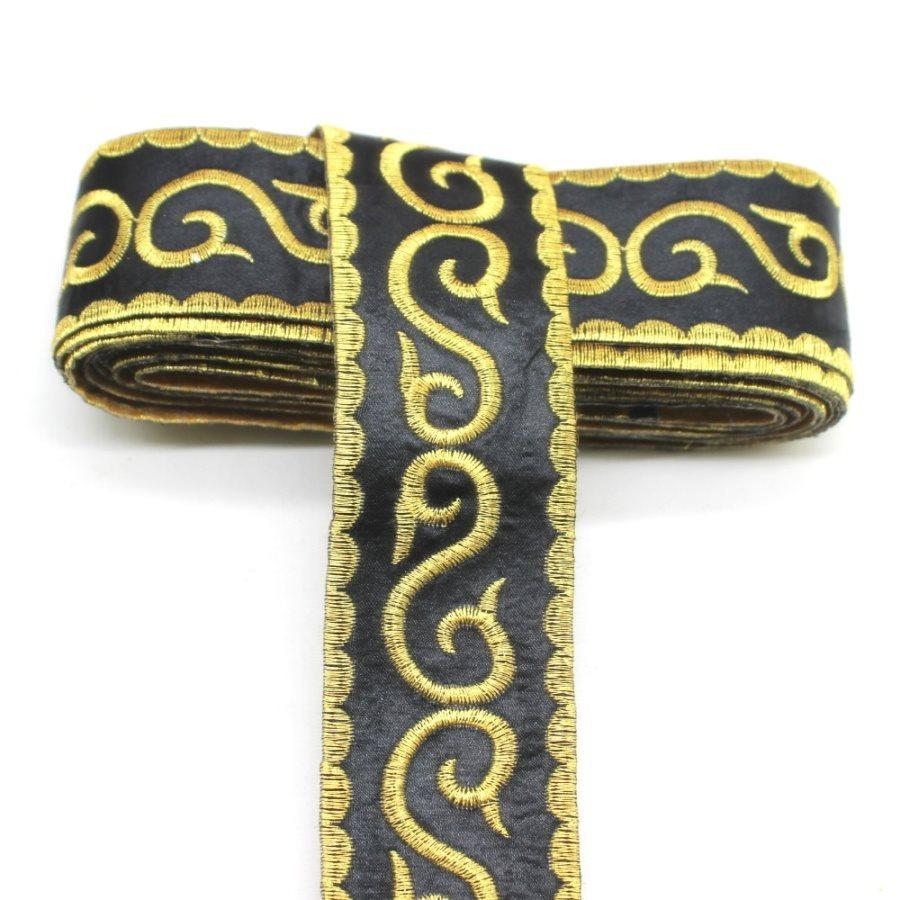 Black Trim Gold Metallic Designer Scroll Sewing Iron on Border Edging GB809