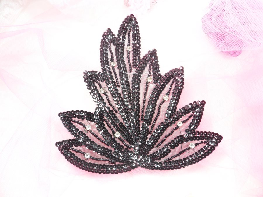 Leaf Applique Black Sequins Beads and Clear Rhinestone Accents Iron On 6 GB815
