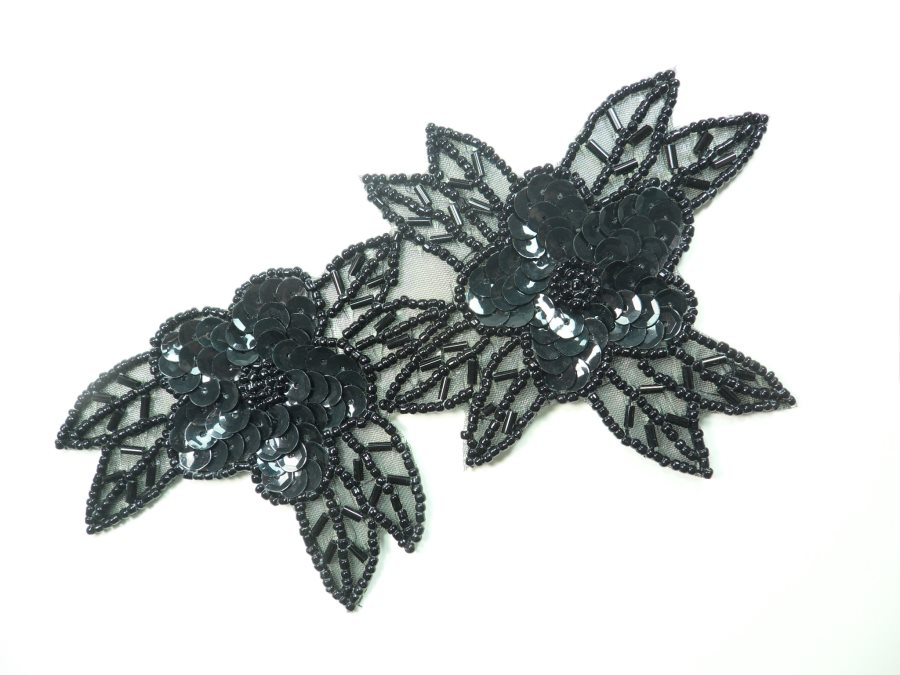 Double Floral Cluster Applique of Black Flowers Sequins Beads Iron On 6.5 GB818