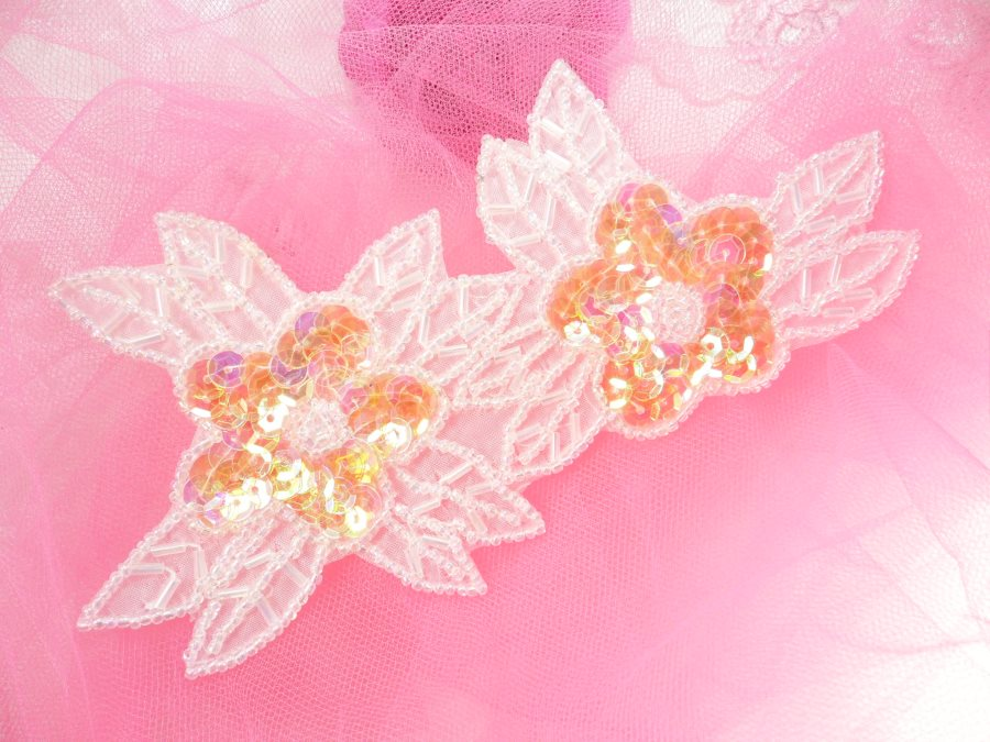 Double Floral Cluster Applique of Crystal AB Flowers Sequins Beads Iron On 6.5 GB818