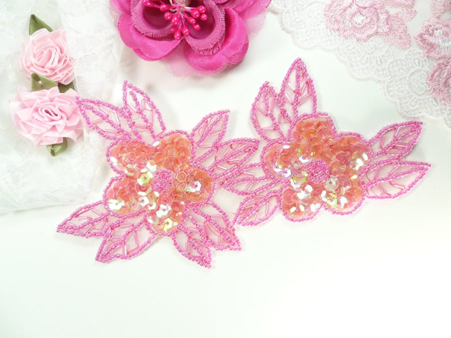 Double Floral Cluster Applique of Fuchsia AB Flowers Sequins Beads Iron On 6.5 GB818