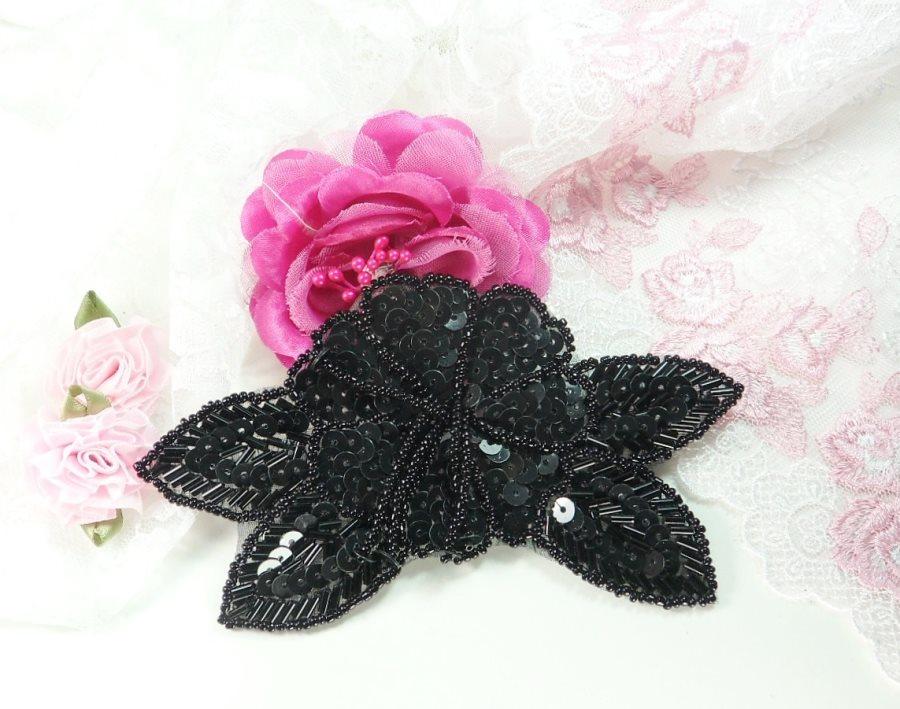 Floral Beaded Sequin Applique Dangles Center Black 5.5 GB819