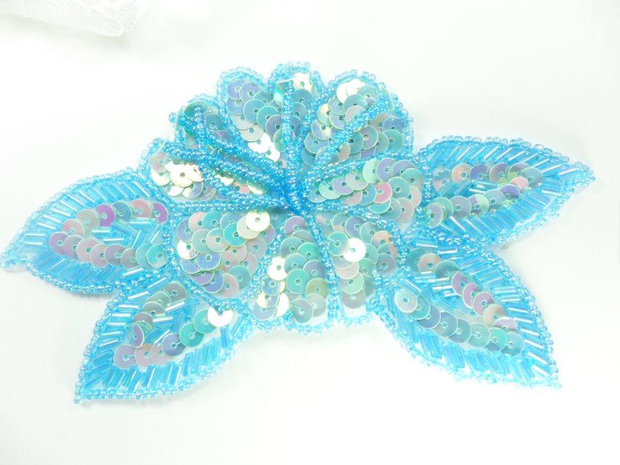 Floral Beaded Sequin Applique Dangles Center Blue Ab 5.5 GB819