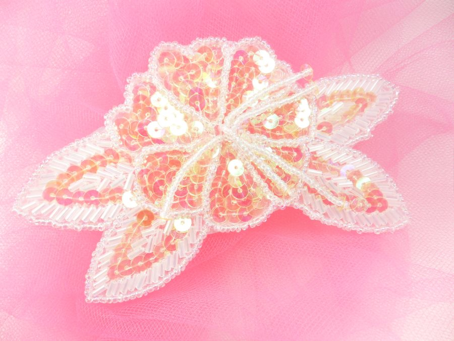 Floral Beaded Sequin Applique Dangles Center Crystal AB 5.5 GB819